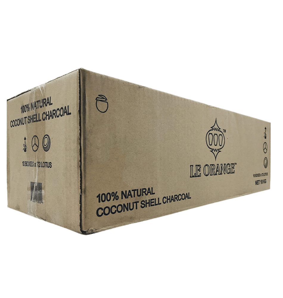 "Le Orange Hookah Coconut Charcoal 72pc ""Large Cubes"" Master Case 10kg - SoBe Hookah"
