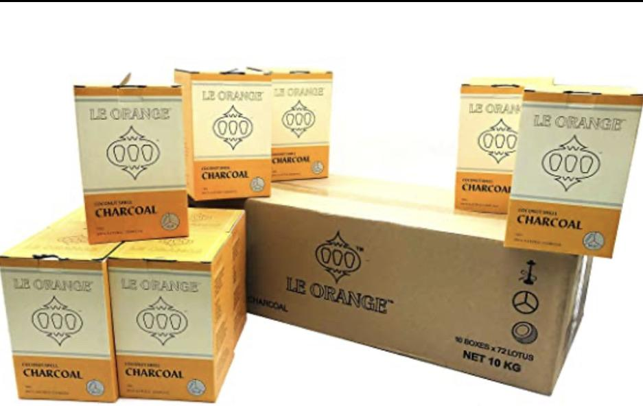 "Le Orange Hookah Coconut Charcoal 72pc ""Large Cubes"" Master Case 10kg"