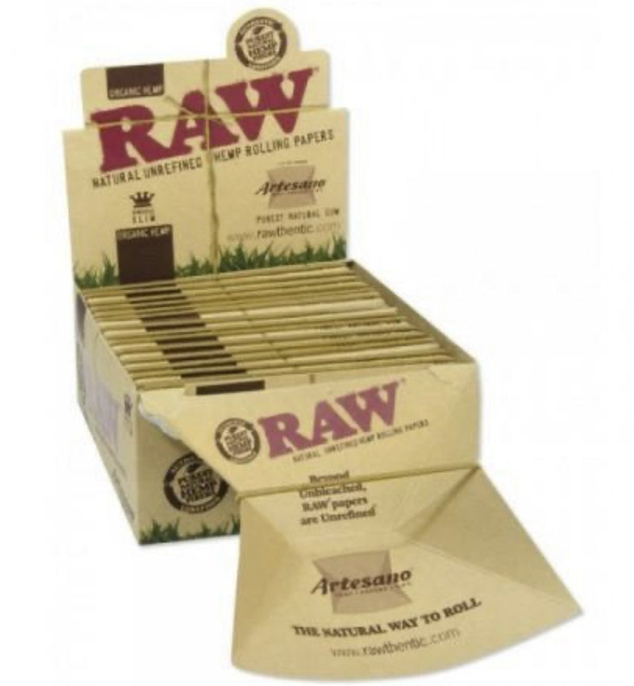 RAW Organic Artesano Kingsize Slim Rolling Paper w/ Tips & Tray - 15 Count Box