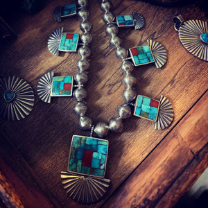 Cheyenne Turquoise and Mediterranean Corral inlayed mosiac necklace and pendants. Strung on a handsome mercury dime necklace.