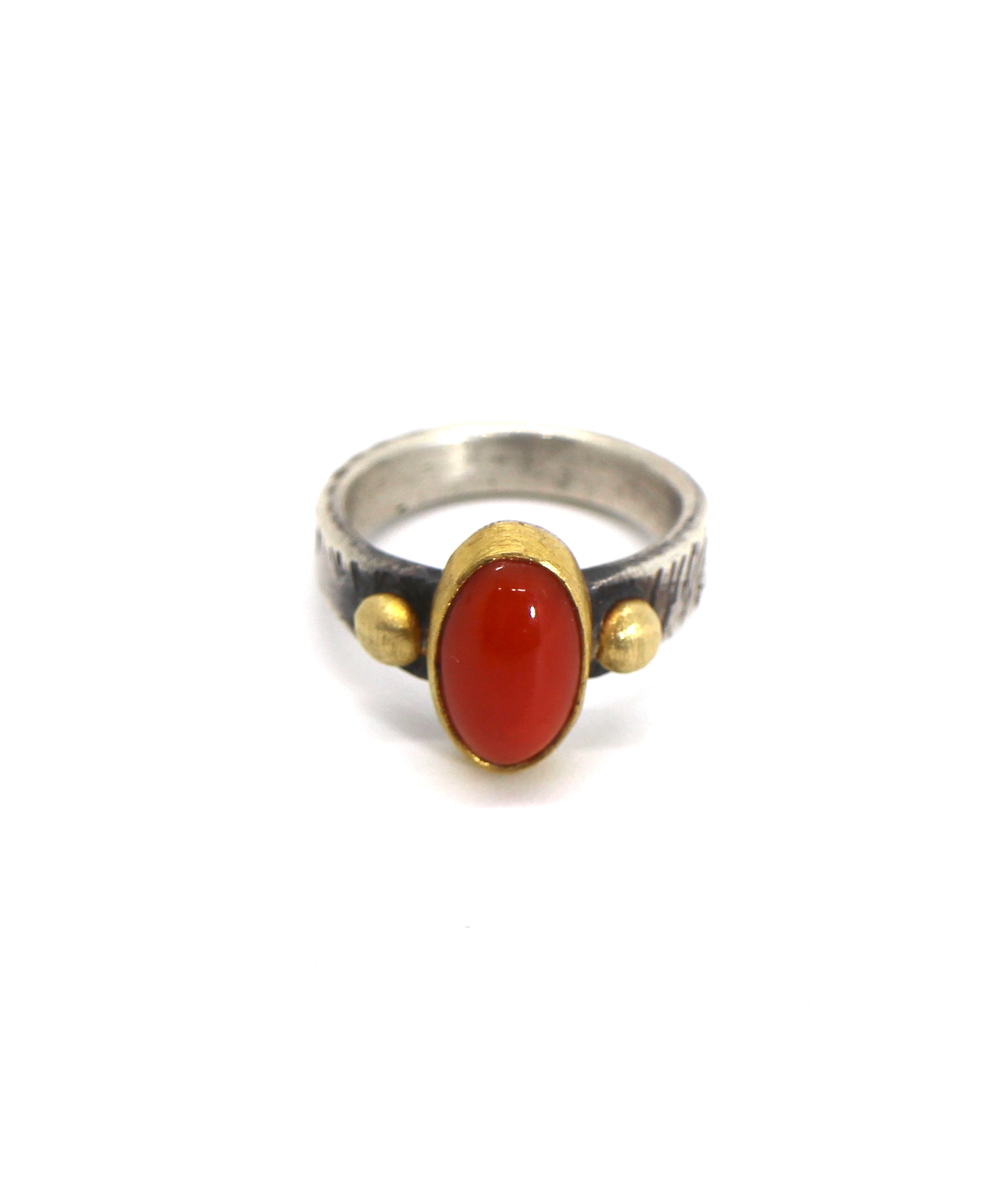 Jesse Robbins Gold and Coral Ring