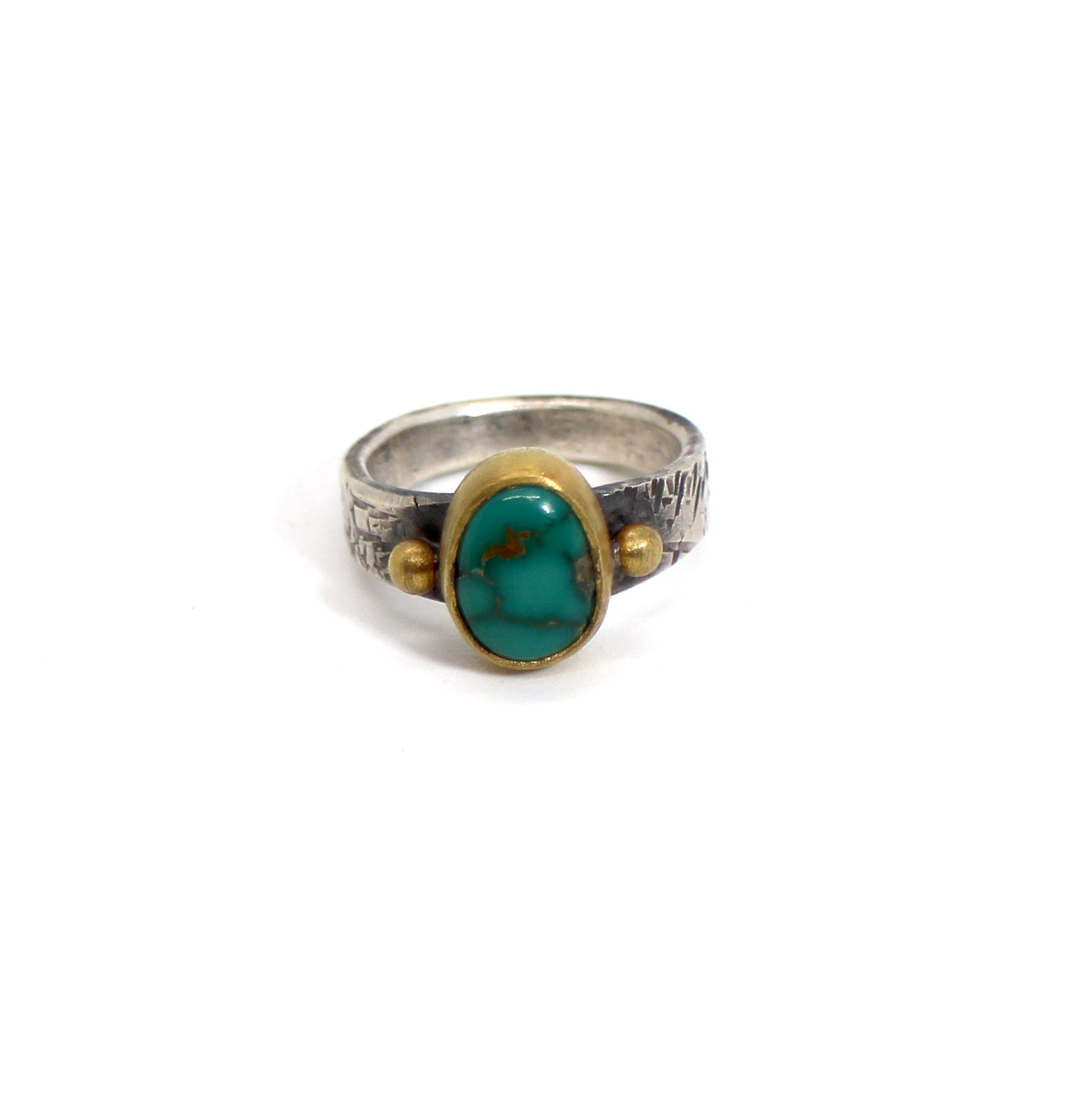 Jesse Robbins Cheyenne Turquoise and Gold Ring