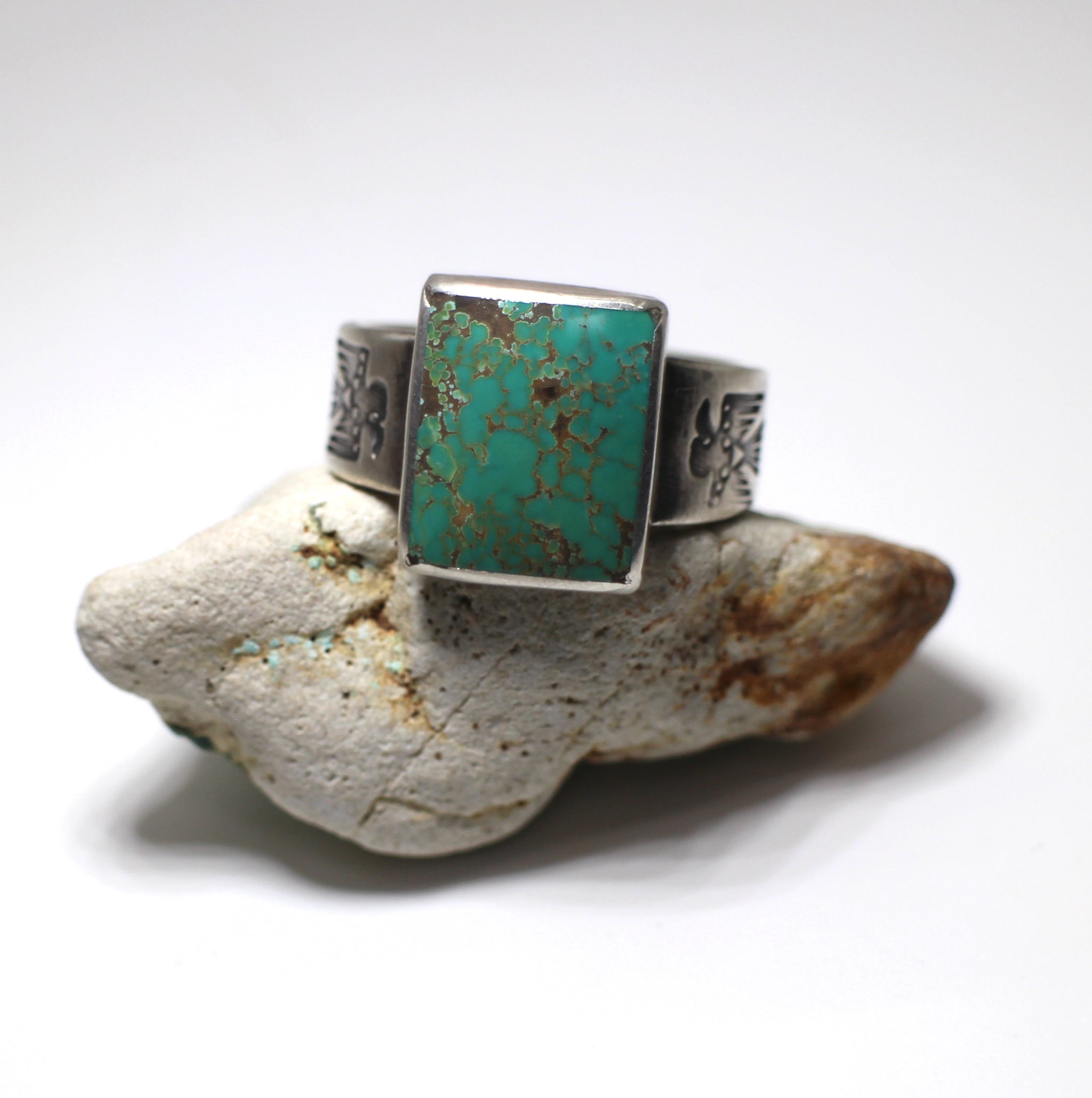 Jesse Robbins Thunderbird Ring with Carico Lake Turquoise