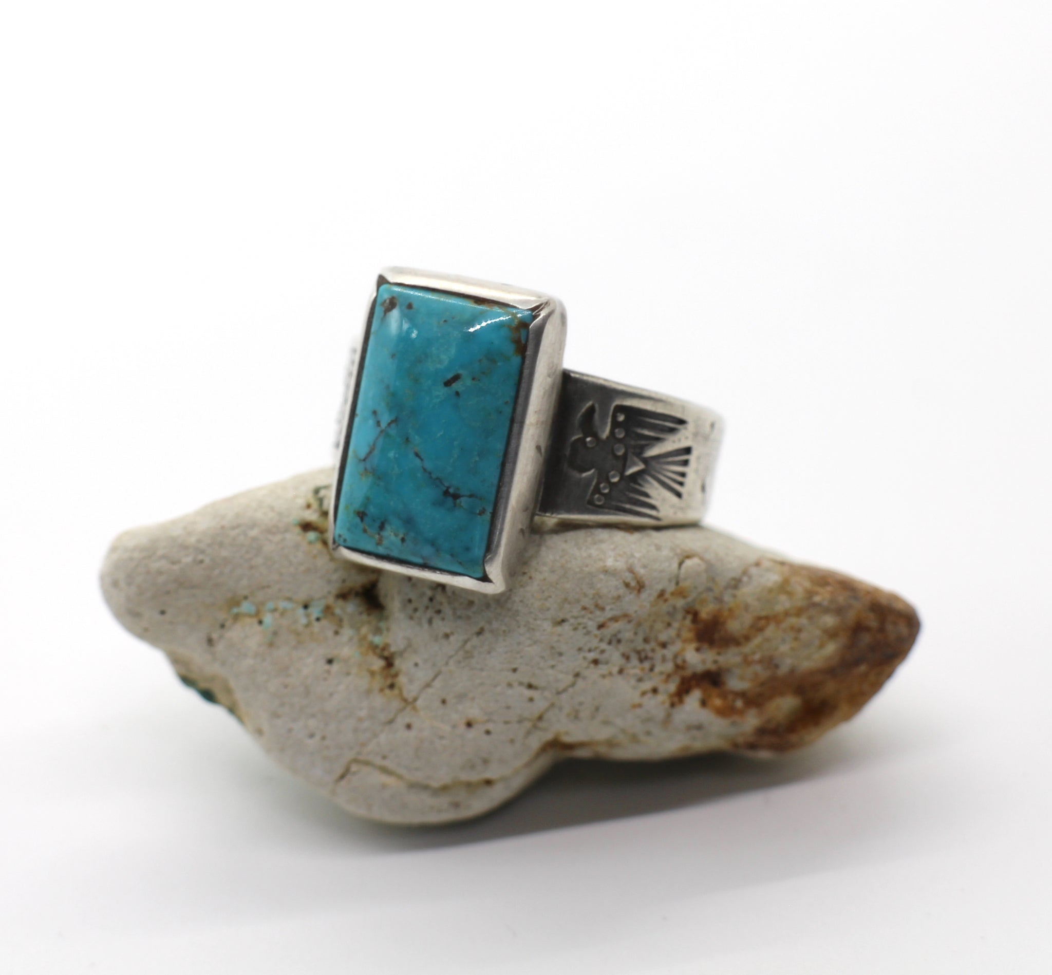 Jesse Robbins Thunderbird Turquoise Ring with Cheyenne Turquoise