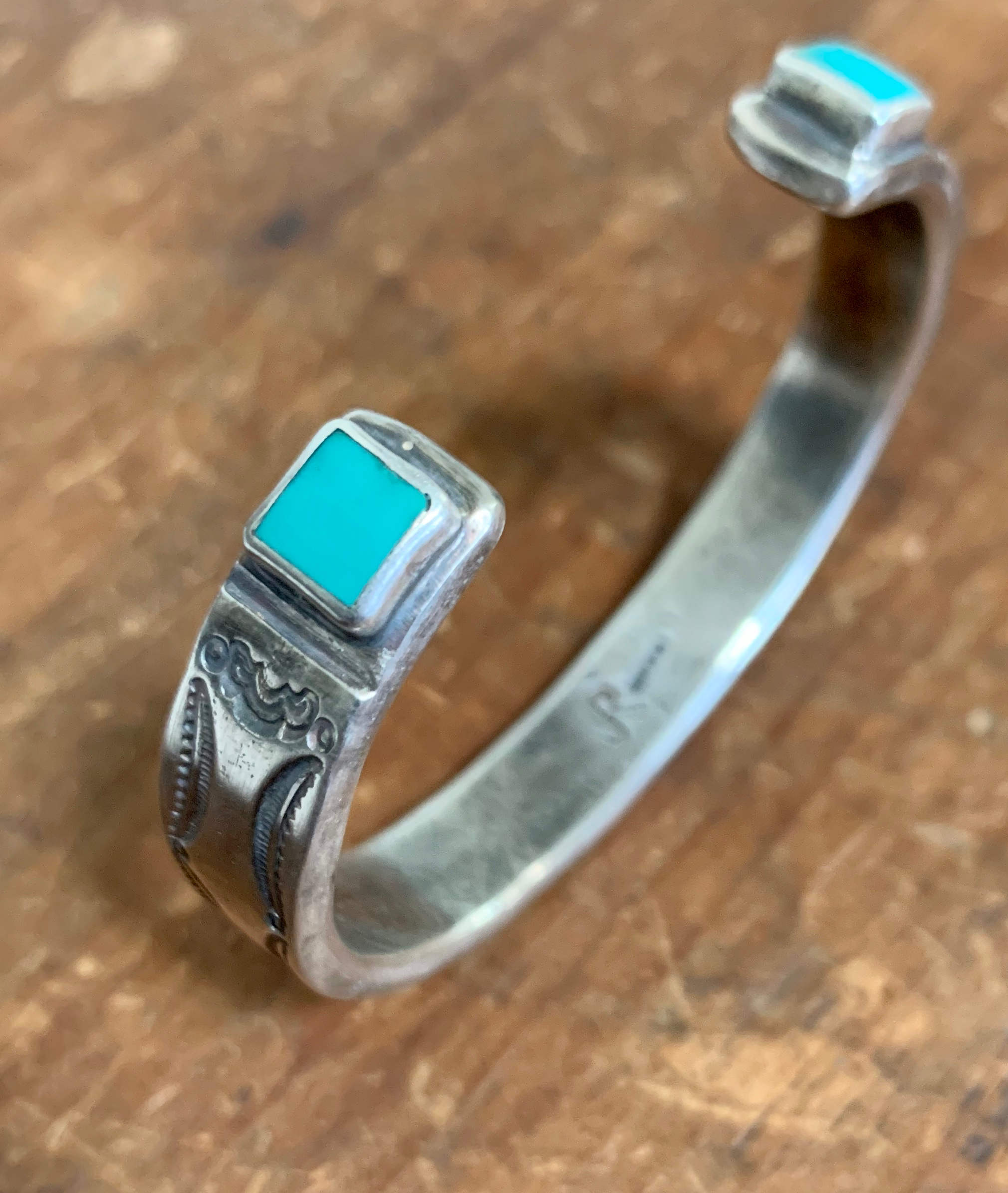 Heavy Stamped Ingot Bracelet with Fox Turquoise Terminals