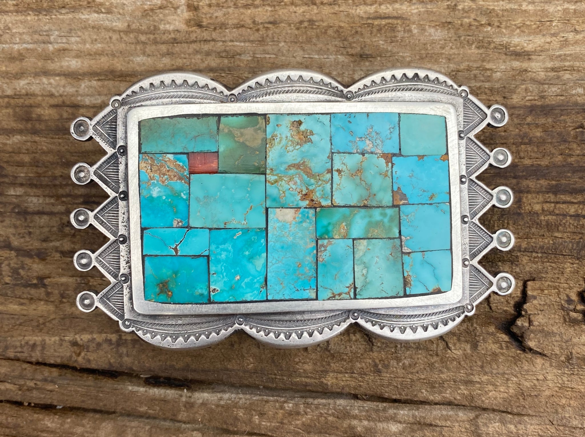 Jesse Robbins Easter Blue Mosaic Belt Buckle