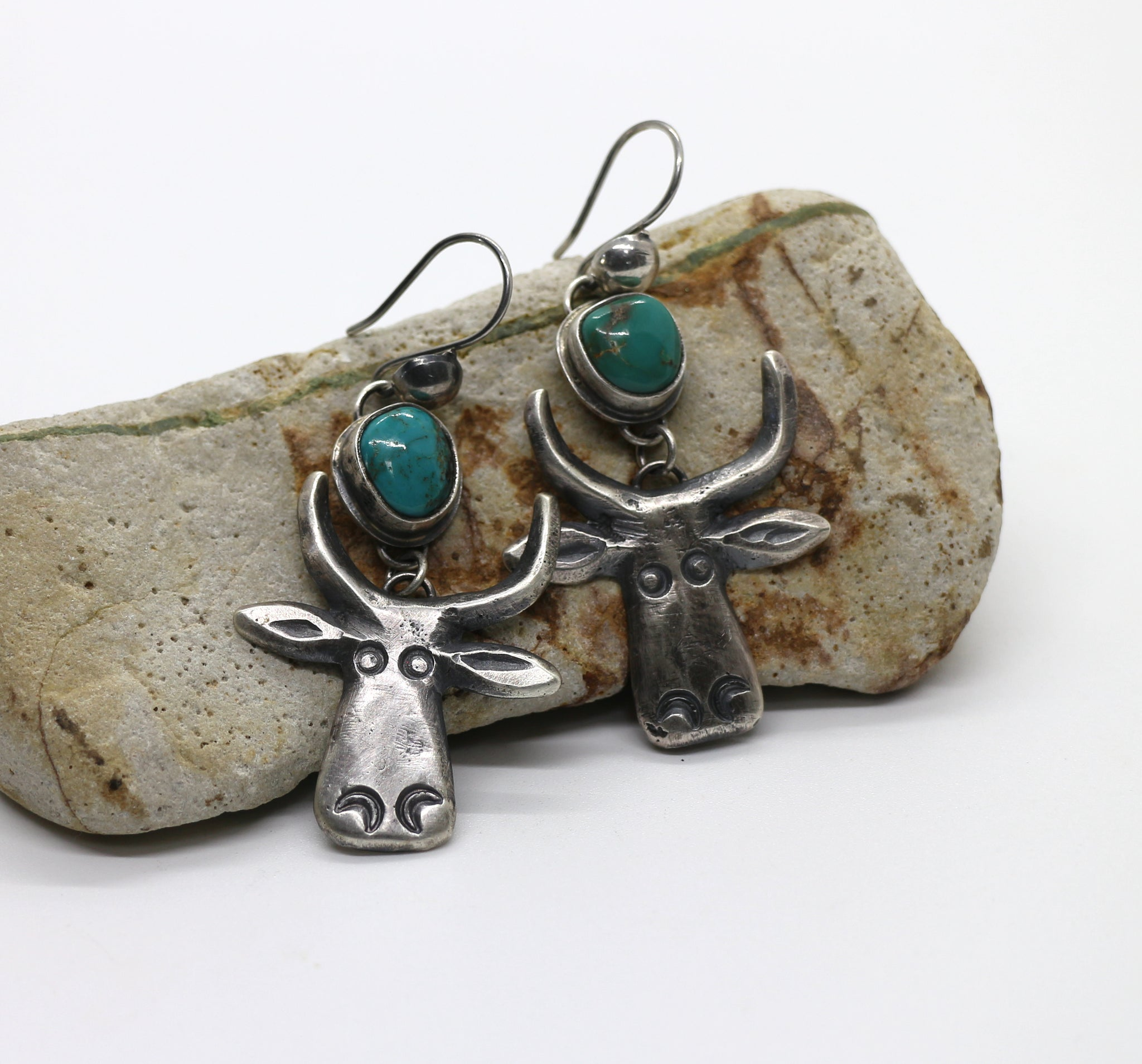Jesse Robbins Cow Earrings with Cheyenne Turquoise