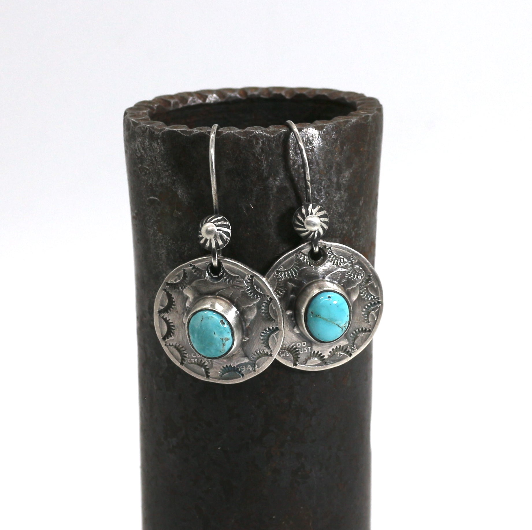 Jesse Robbins Mercury Dime earrings with Misty Blue