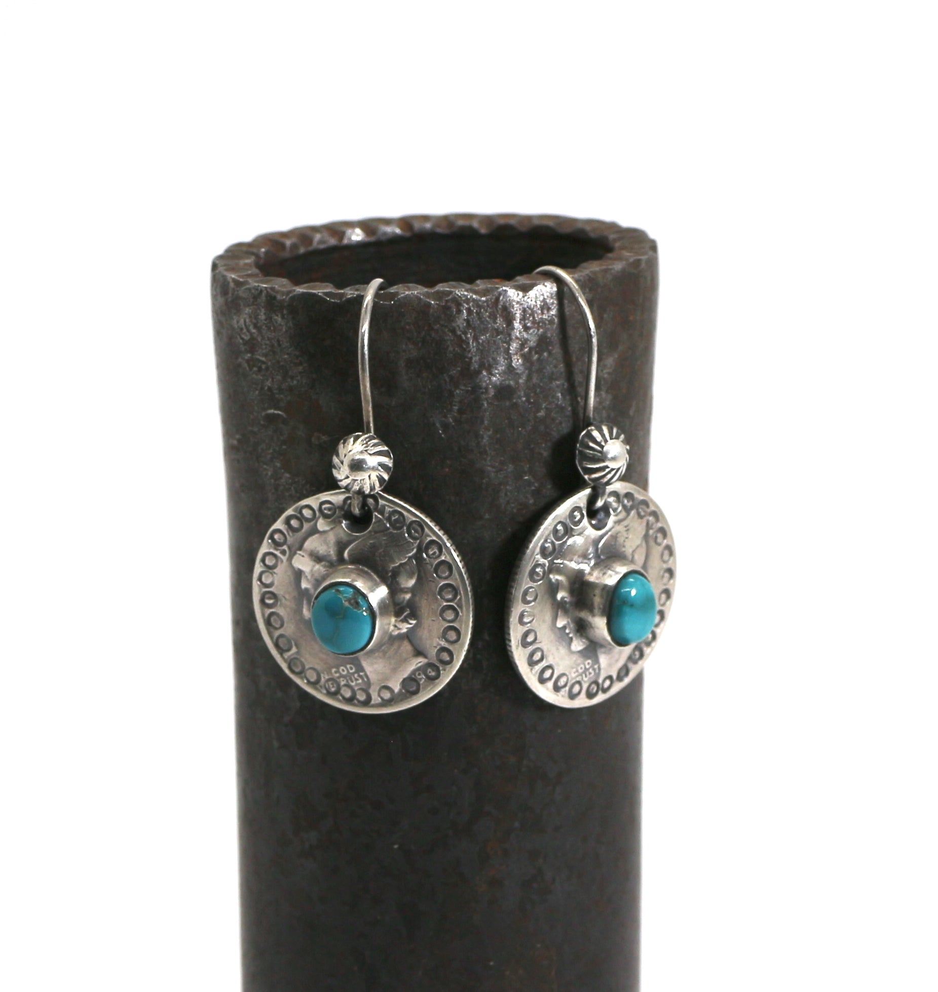 Jesse Robbins Mercury Dime earrings with Cheyenne.