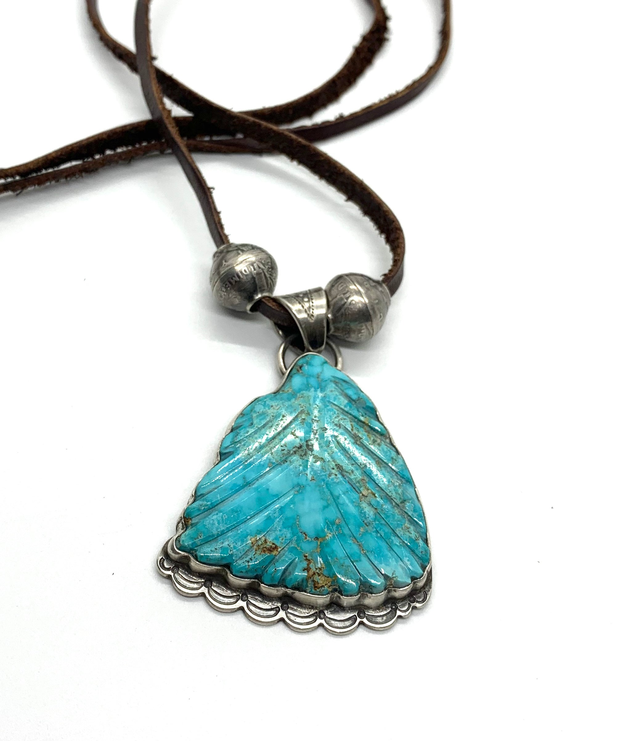 Jesse Robbins Carved Blue Kingman Leaf Pendant