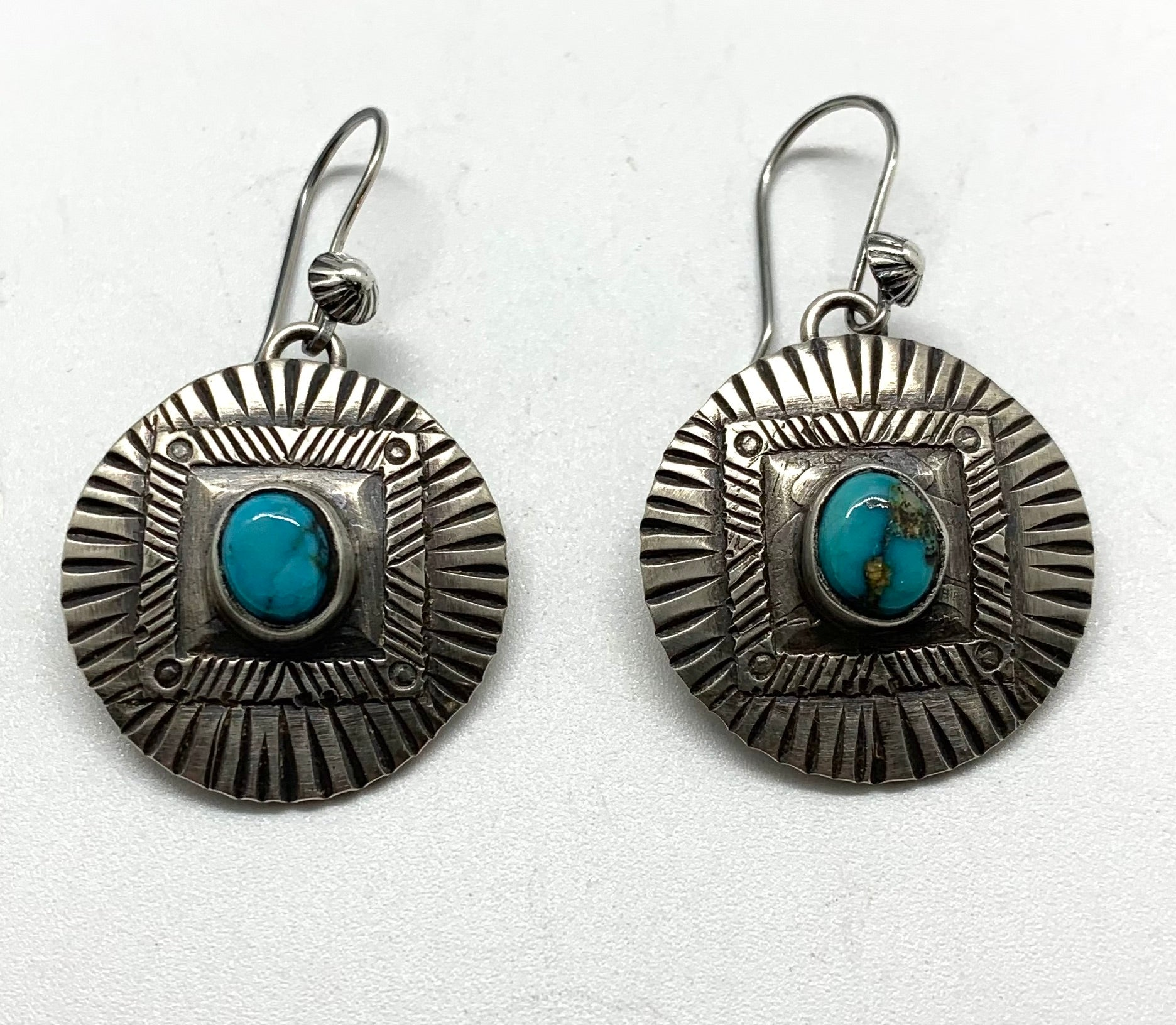 Jesse Robbins Barber Quarter Earrings with Cheyenne Turquoise