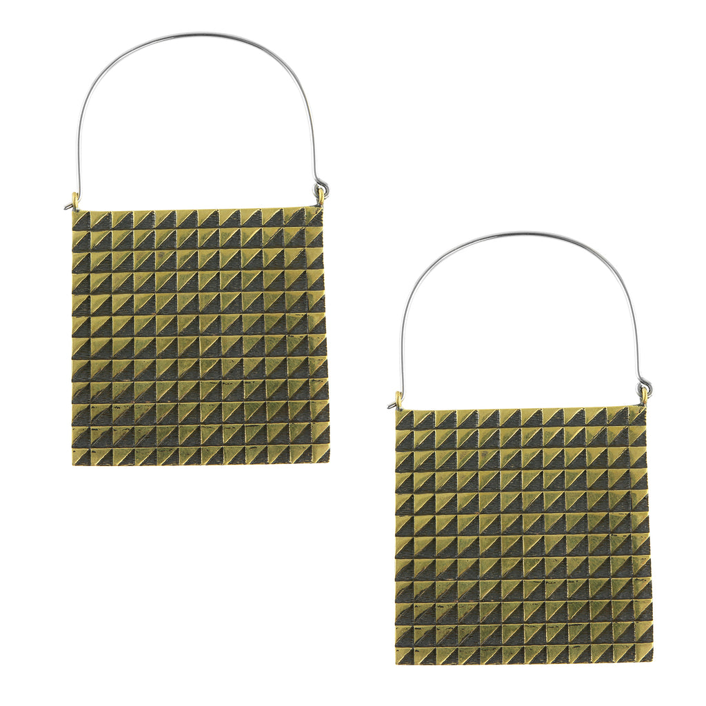 Chequer Titanium Earrings