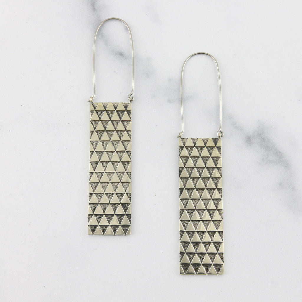 Silver Fifty-Fifty Titanium Earrings