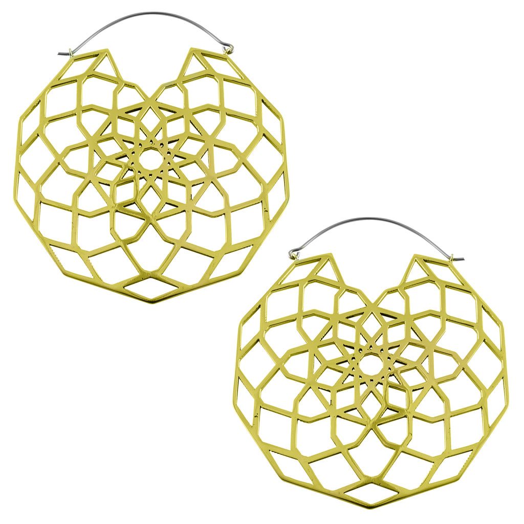 Gold Labyrinth Titanium Hangers / Earrings