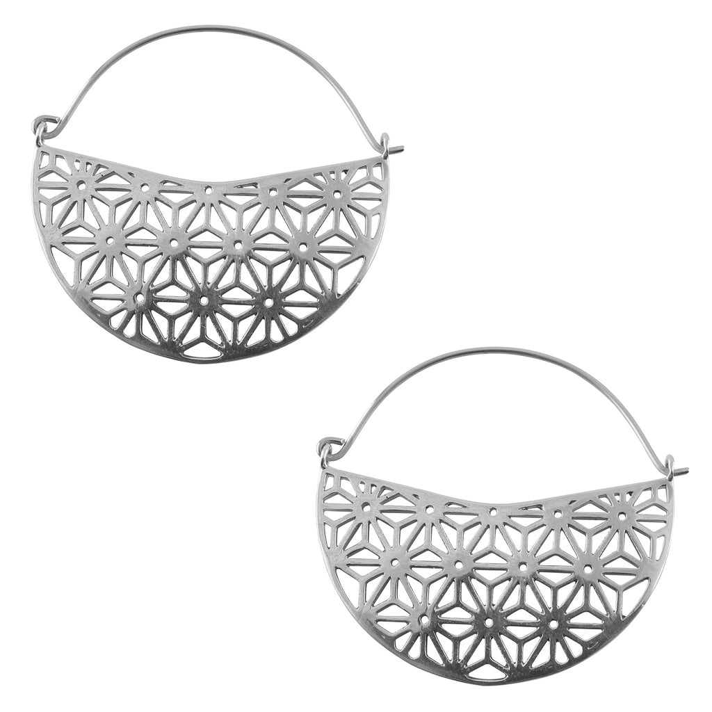 Silver Asanoha Titanium Hangers / Earrings