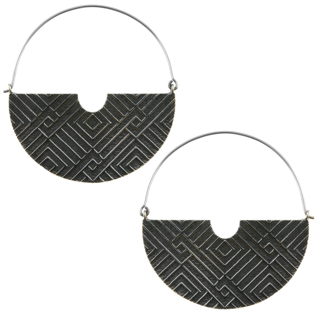 Silver Freight Titanium Earrings