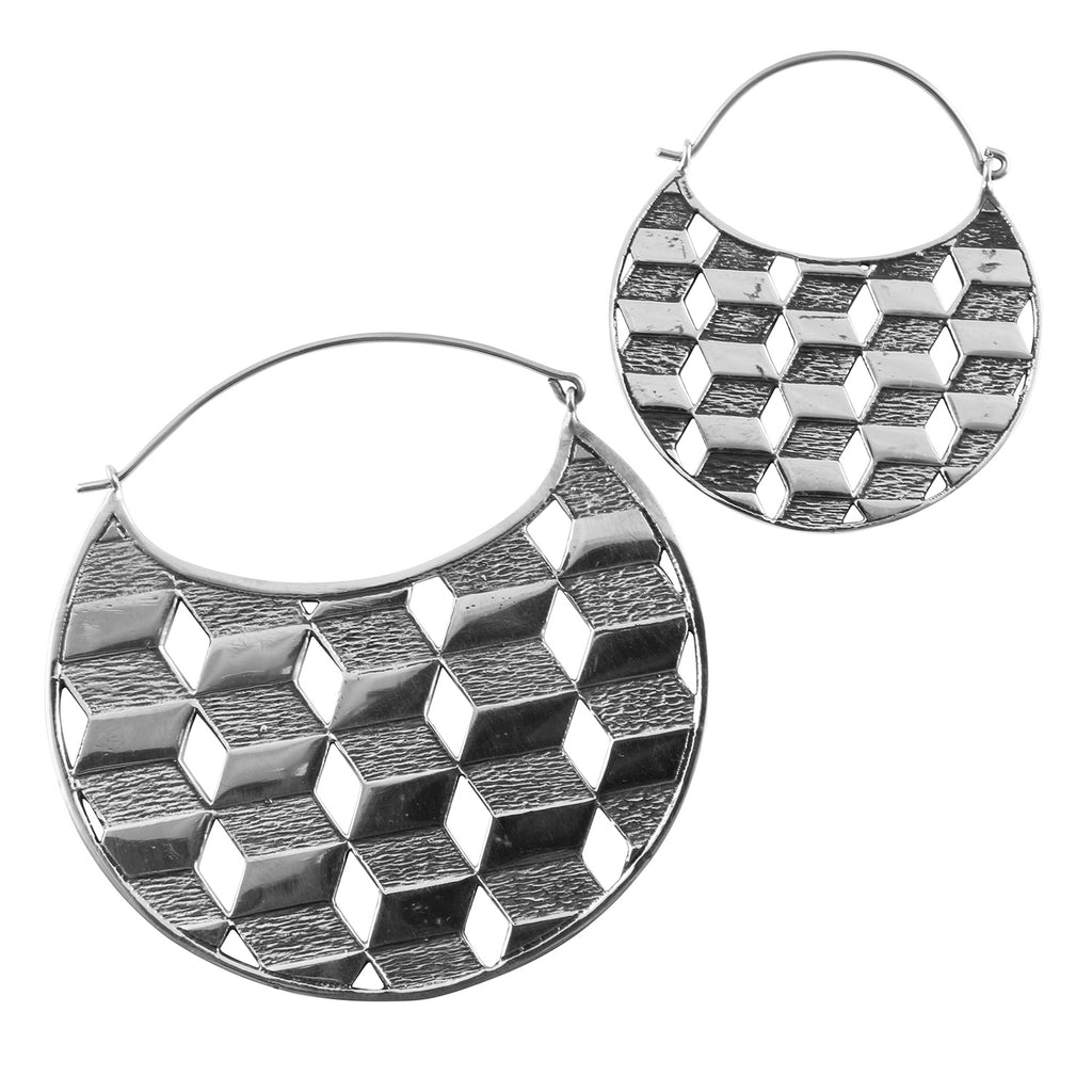 Silver Chamber Titanium Earrings