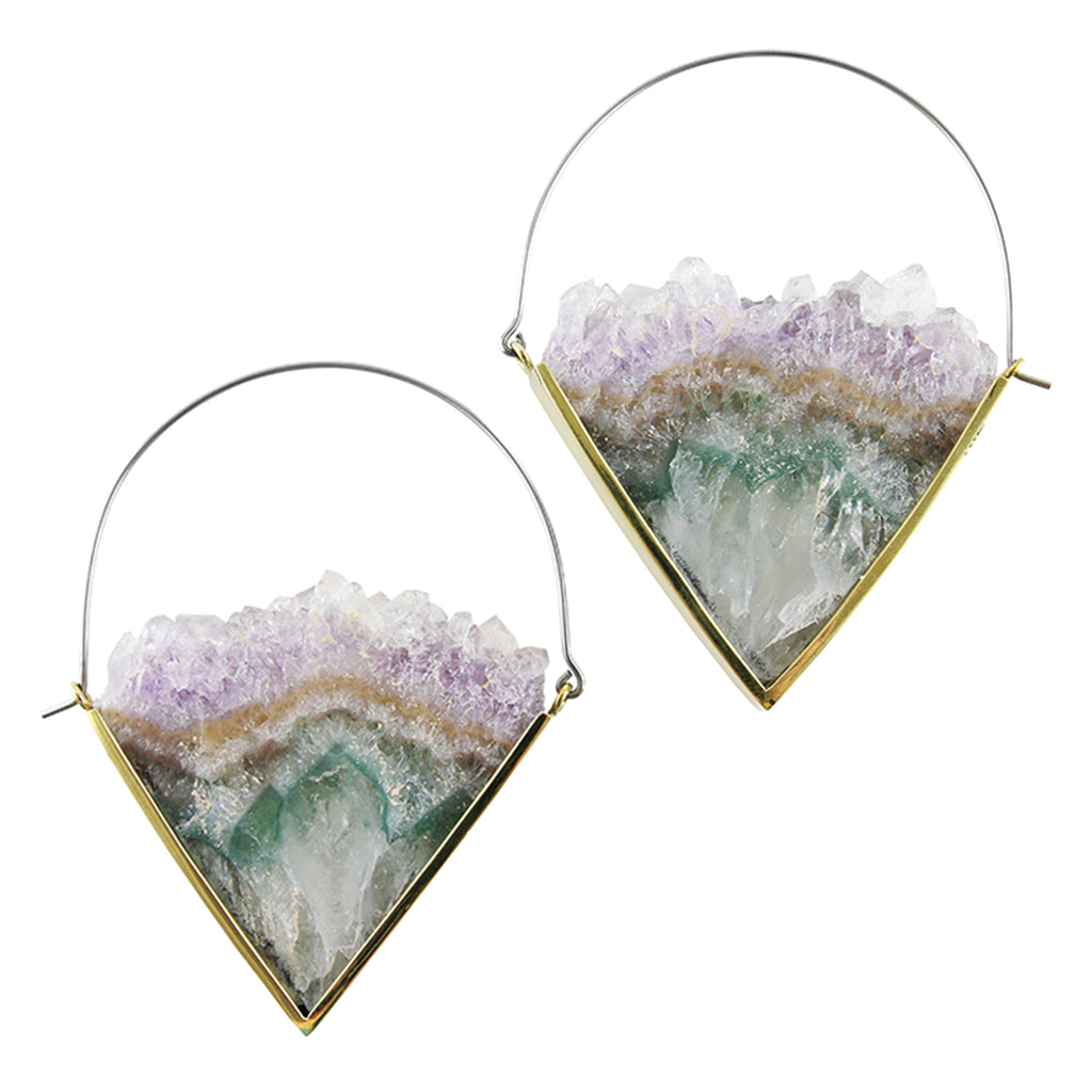 Parabola Titanium & Amethyst Earrings