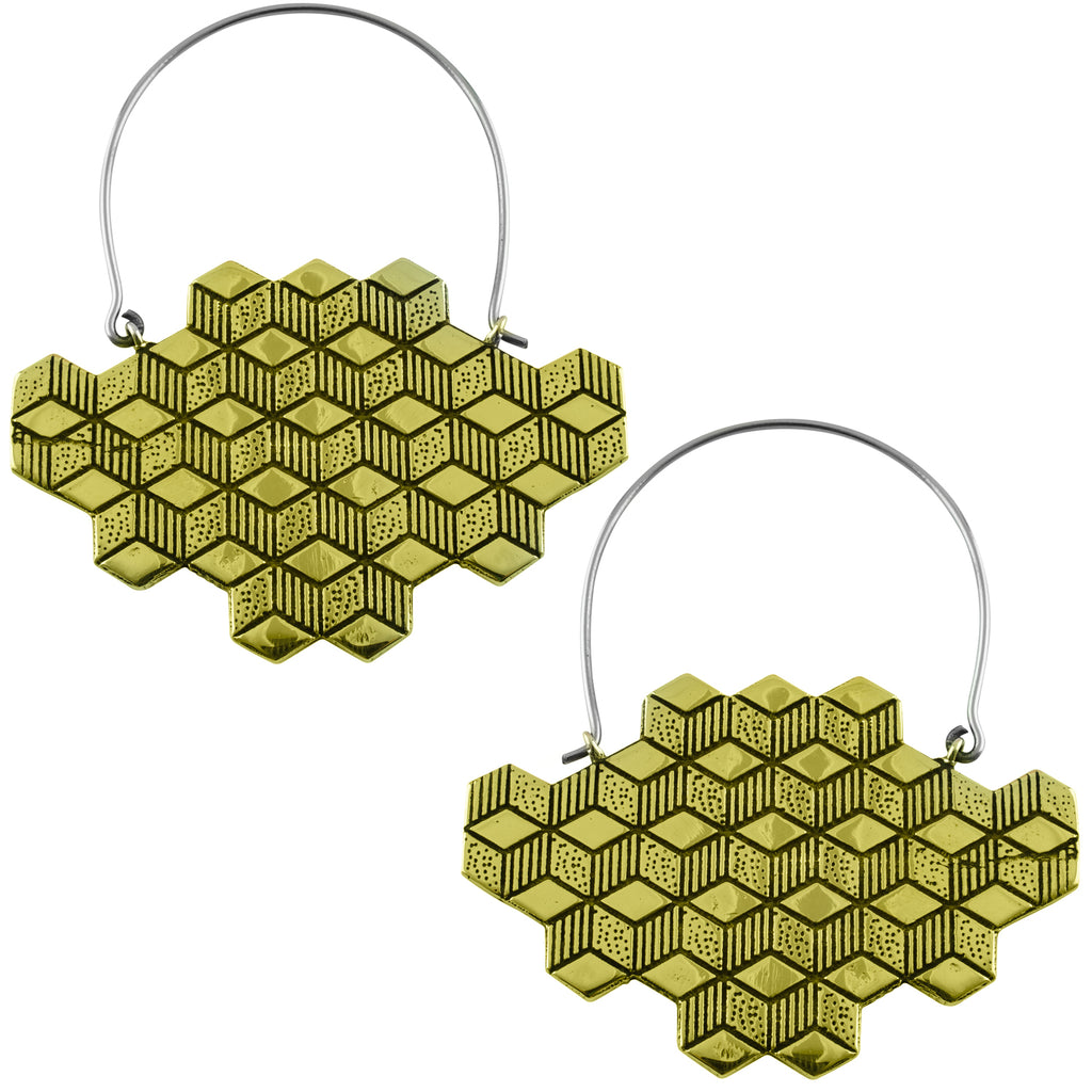Gold Hedron Titanium Hangers / Earrings