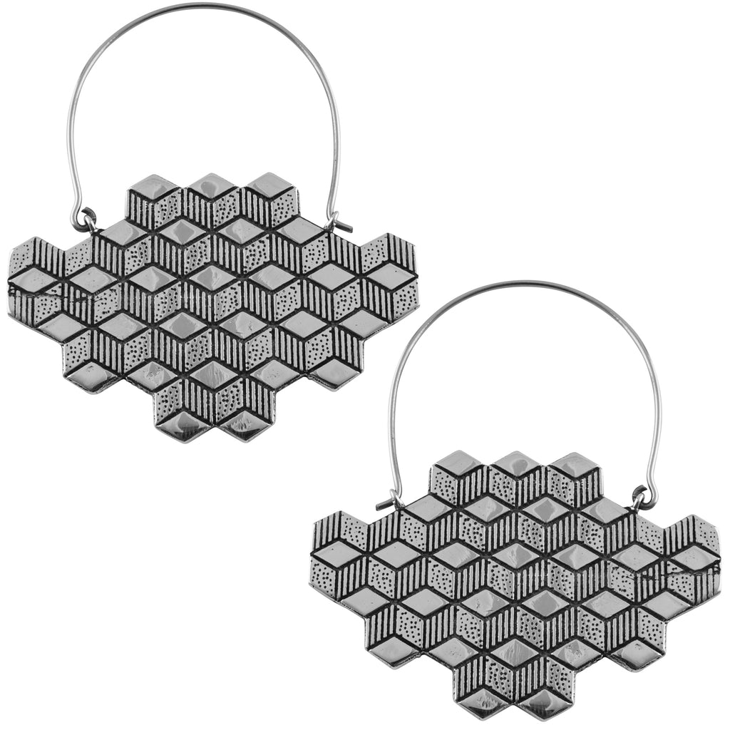 Silver Hedron Titanium Hangers / Earrings