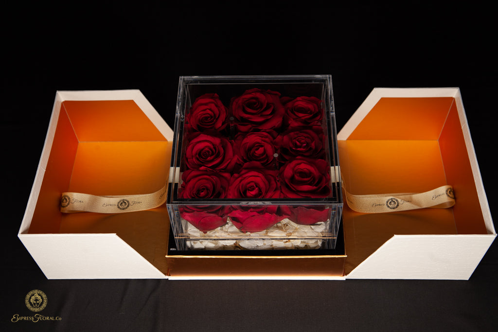EMPRESS FLORA 9 SET BURGUNDY RED ROSES IN A DISPLAY CASE