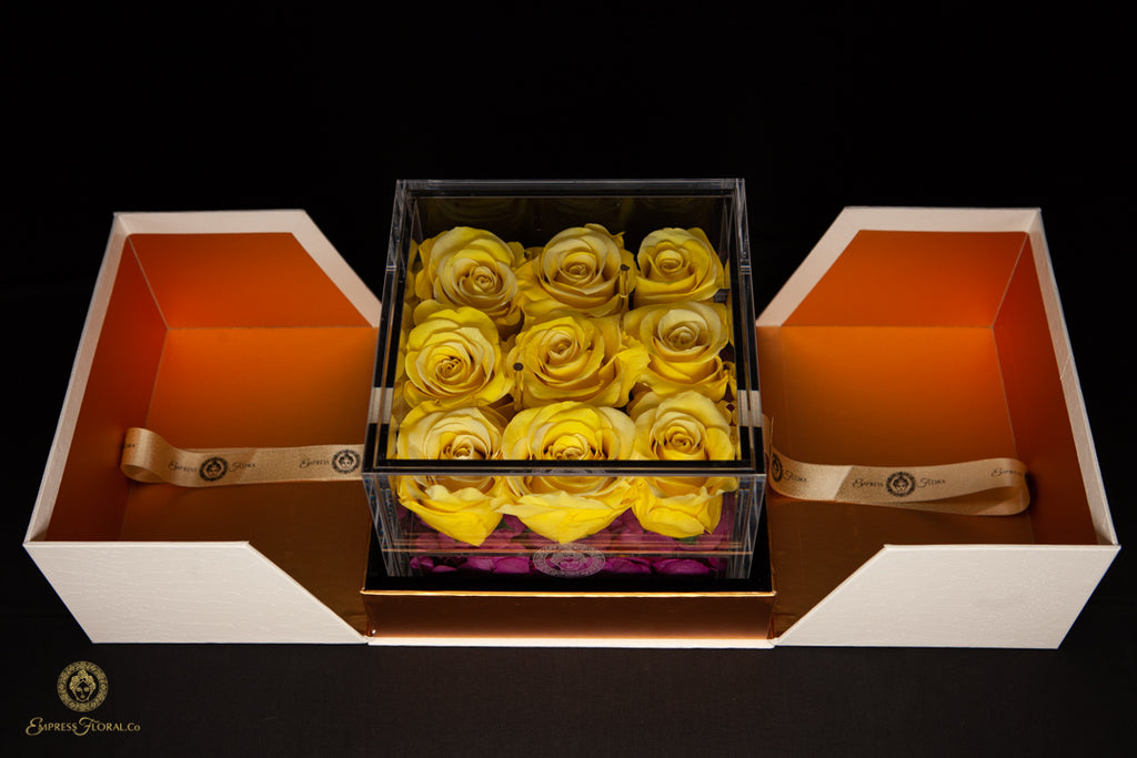 Honey Yellow Rose Gift Box Showcase (9ct) - Preserved Dried Forever Rose