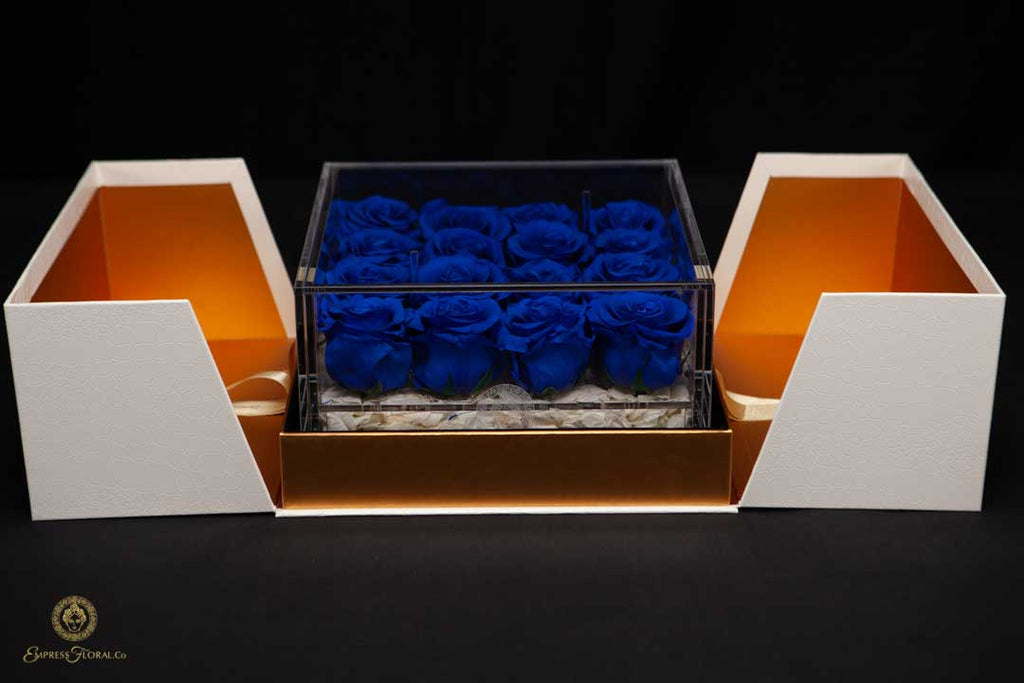 EMPRESS FLORA BIG 16 BLUE ROSES IN AN ACRYLIC BOX