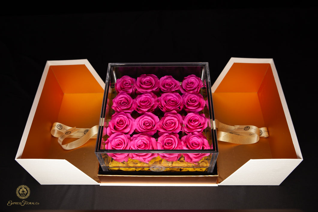 EMPRESS FLORA BIG 16 HOT PINK ROSES IN AN ACRYLIC BOX