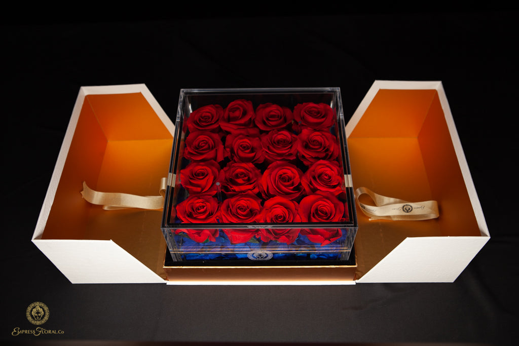 EMPRESS FLORA BIG 16 RED ROSES IN AN ACRYLIC BOX
