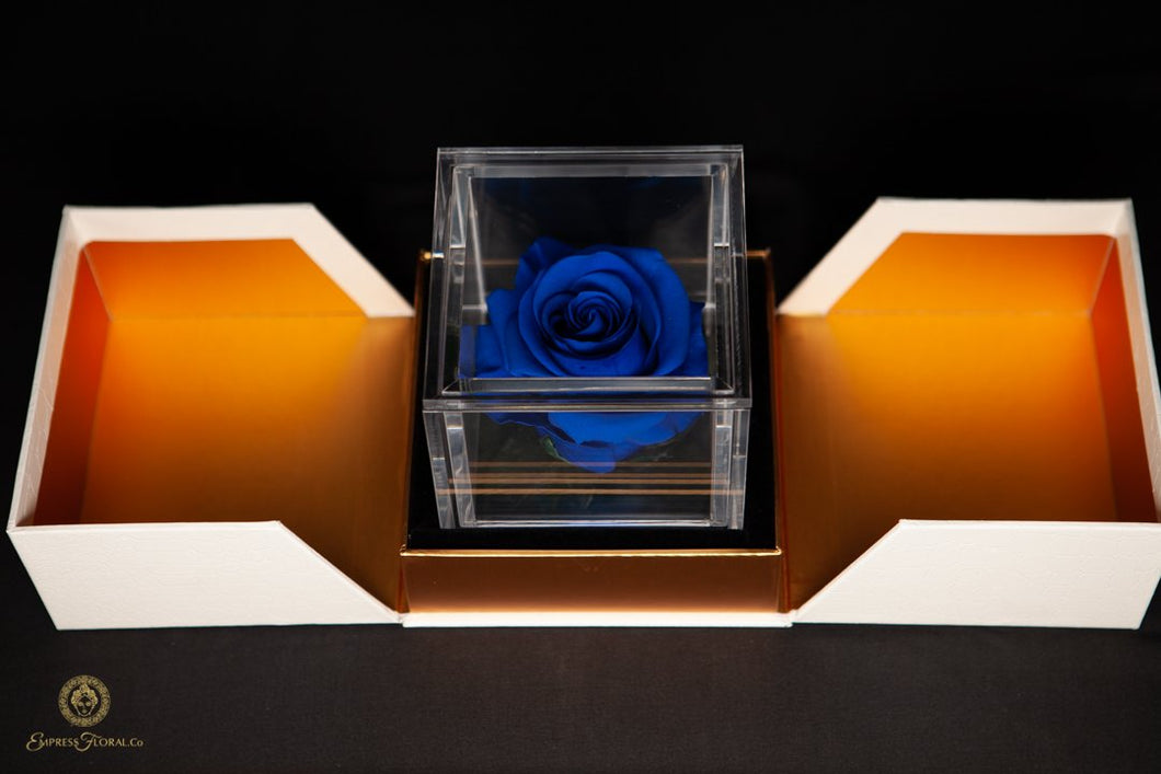 Empress Flora Single Royal Blue Rose in an Acrylic Box