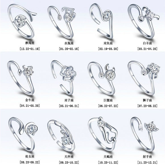12 Zodiac Ring Aries Taurus Gemini Cancer Virgo Libra Scorpius Sagittarius Capricornus Wedding Love CZ Open Adjustable Rings