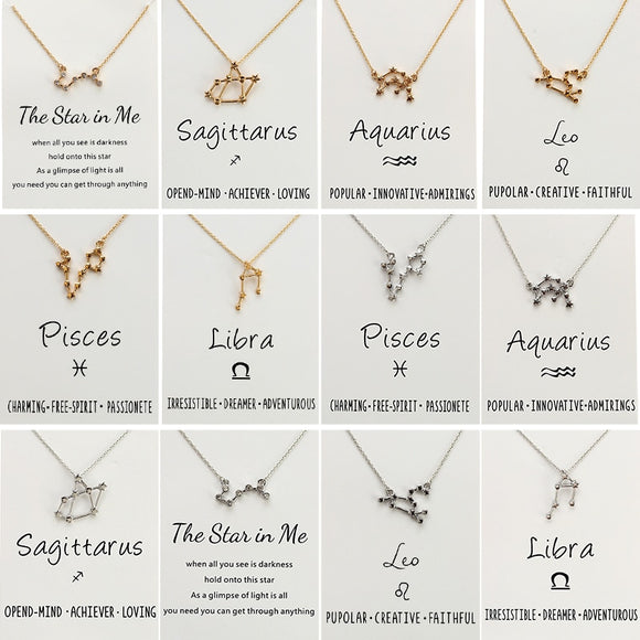 Twelve Constellation Gold Silver Color Long Chain Necklace Aquarius Pisces Taurus Leo virgo Libra Scorpio Sagittarius Capricorn