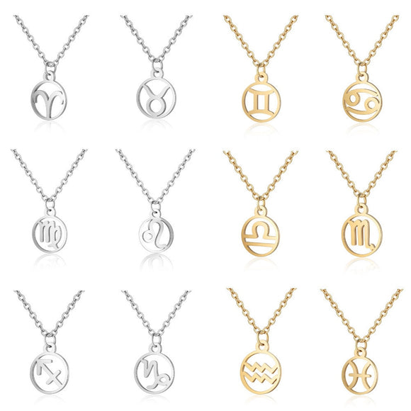 fashion 12 Constellation Aries Libra Cancer Pisces Aquarius Virgo Libra Leo Capricorn Gemini Taurus Necklace Pendant for women