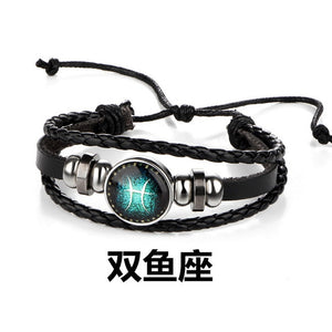 12 Constellation Zodiac Sign Black Braided Leather Bracelet