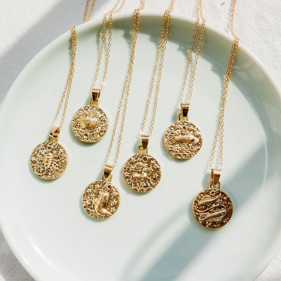 Boho 12 Constellation Jewelry Necklace Gold Virgo Libra Scorpio Sagittarius Capricorn Aquarius Zodiac Circle Pendant Necklace