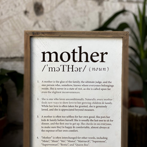 Mother - Sweet & Funny Definition Plaque