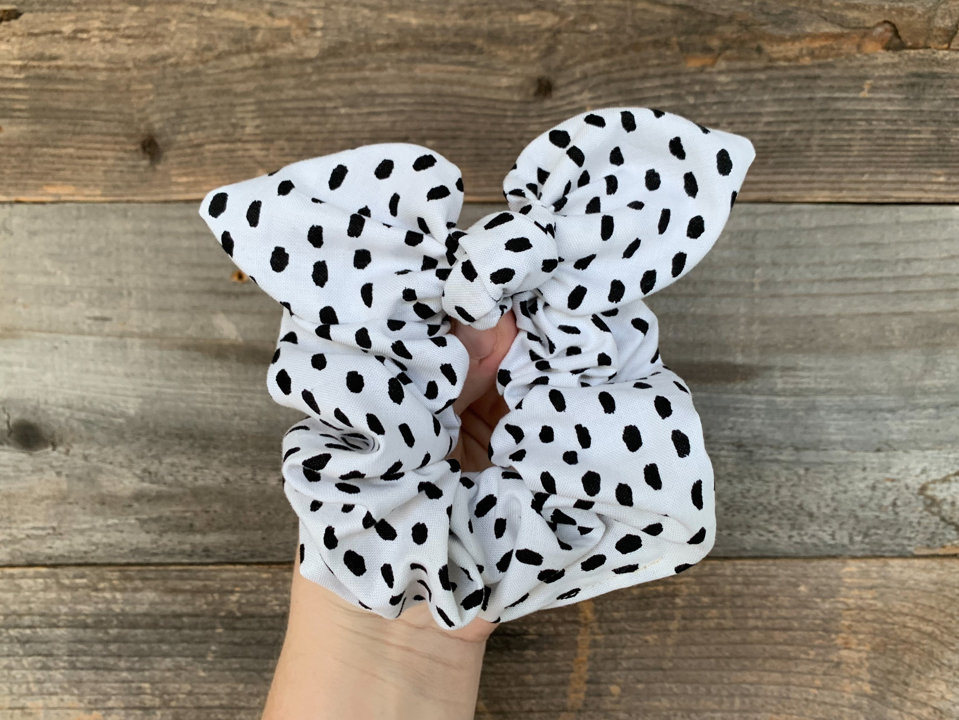 White and Black Bunny Scrunchy