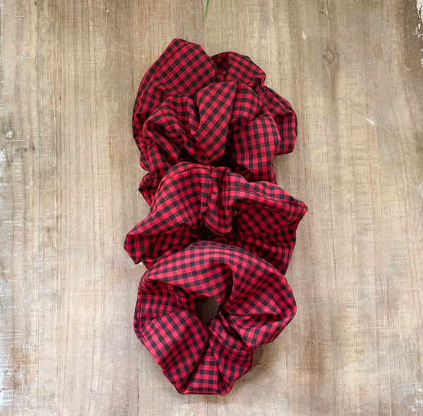 Mini Red Check Scrunchy