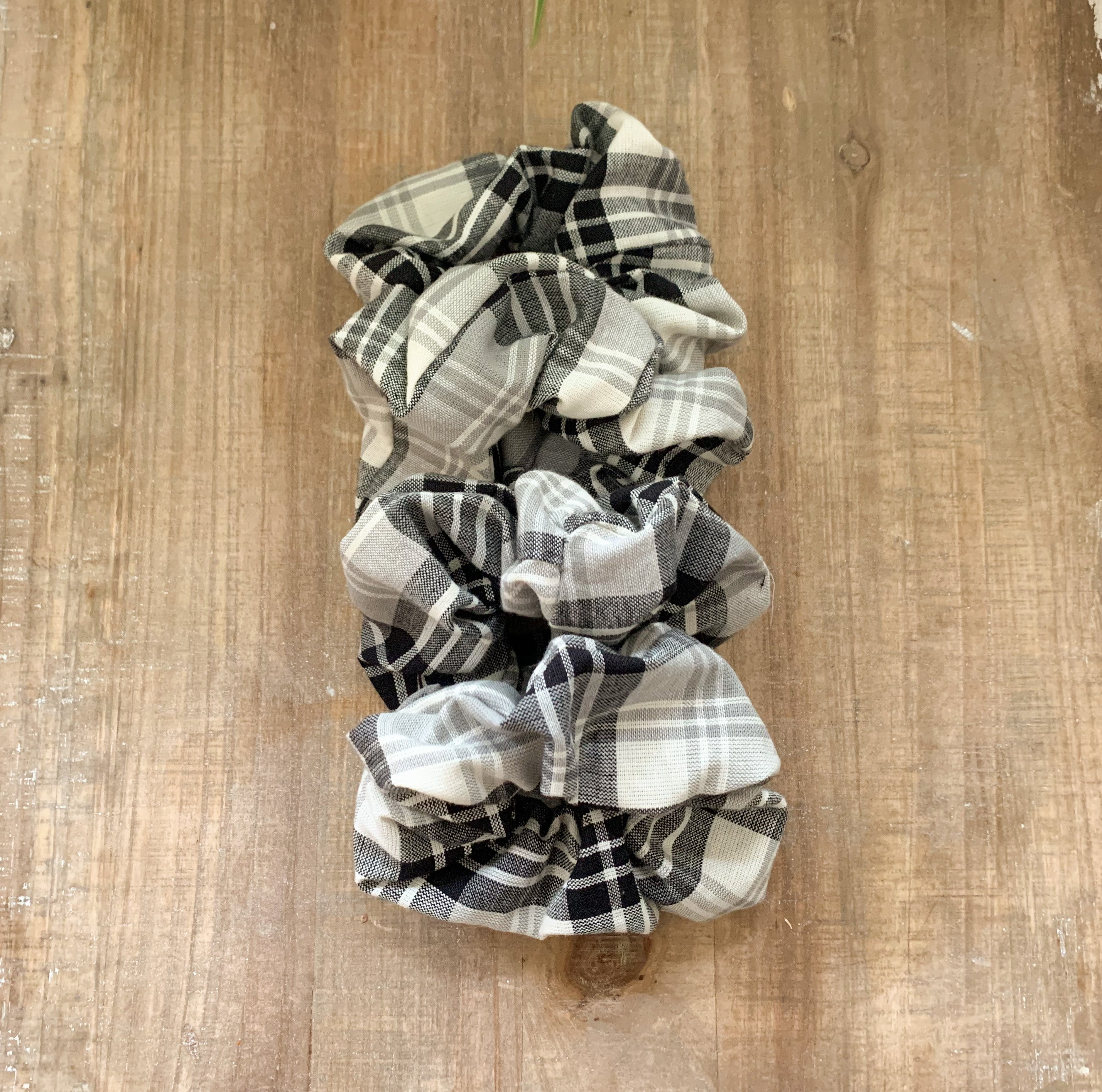 Black Plaid Scrunchy