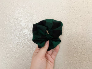 Green Check Scrunchy