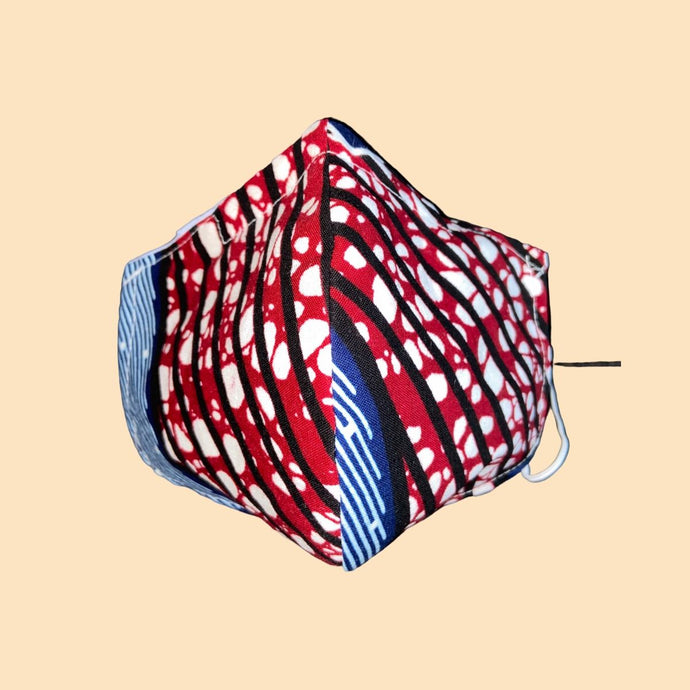 Cloth Face Mask with filter Blue/Red - Adult