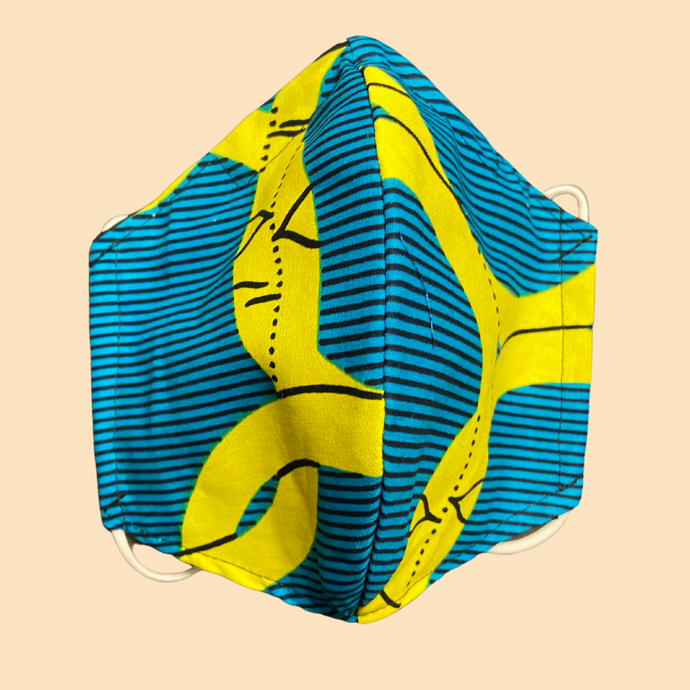 Cloth Face Mask with filter Blue & Yellow - Adult/Child