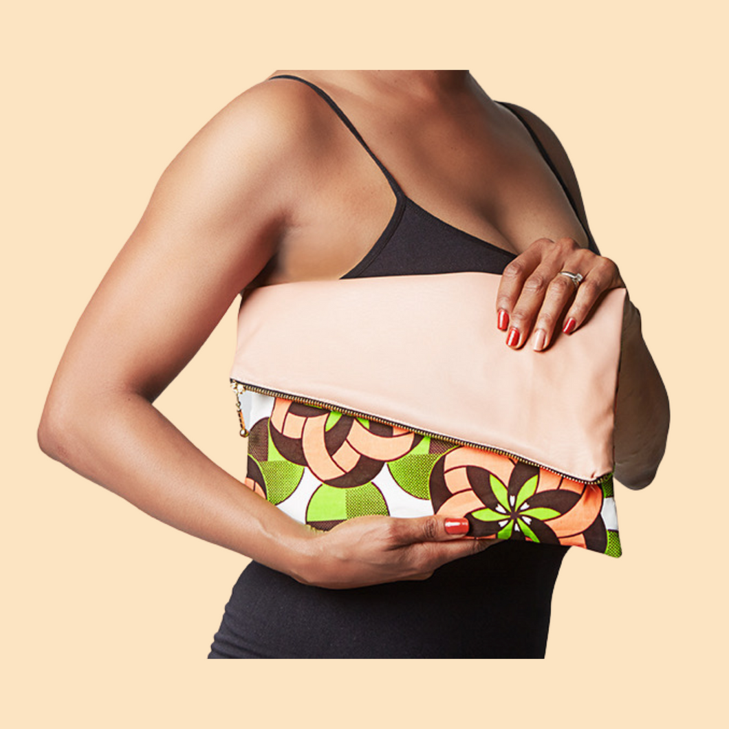 Fold Over Clutch - Coral