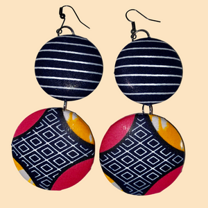 African Print Round Earrings