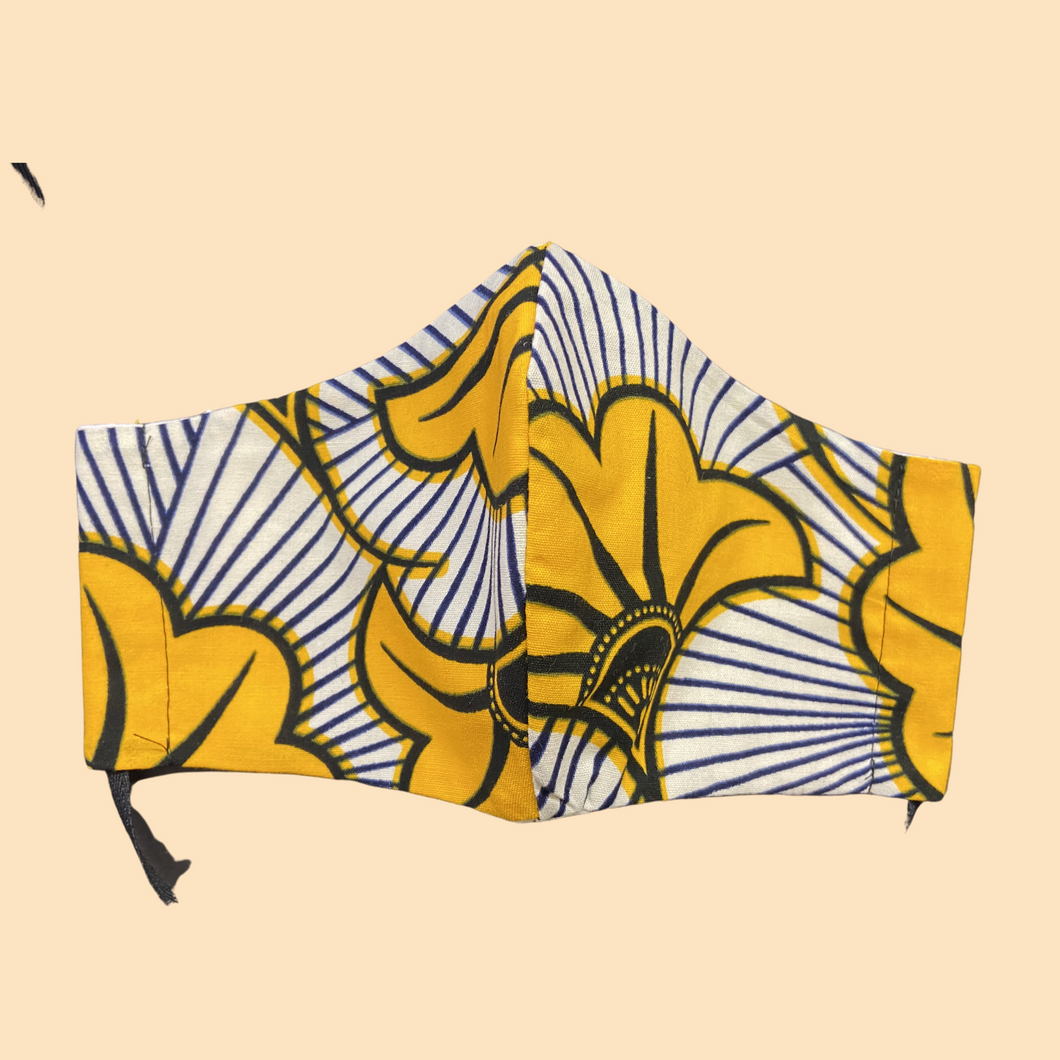 Cloth Face Mask with ties Yellow Flowers - Adult/Child