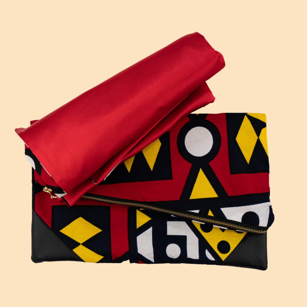 Luxury Women Set (Clutch and double sided Head scarf) in Samakaka