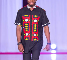 Load image into Gallery viewer, Short Sleeve Black &  Samakaka Shirt with Mandarin Collar