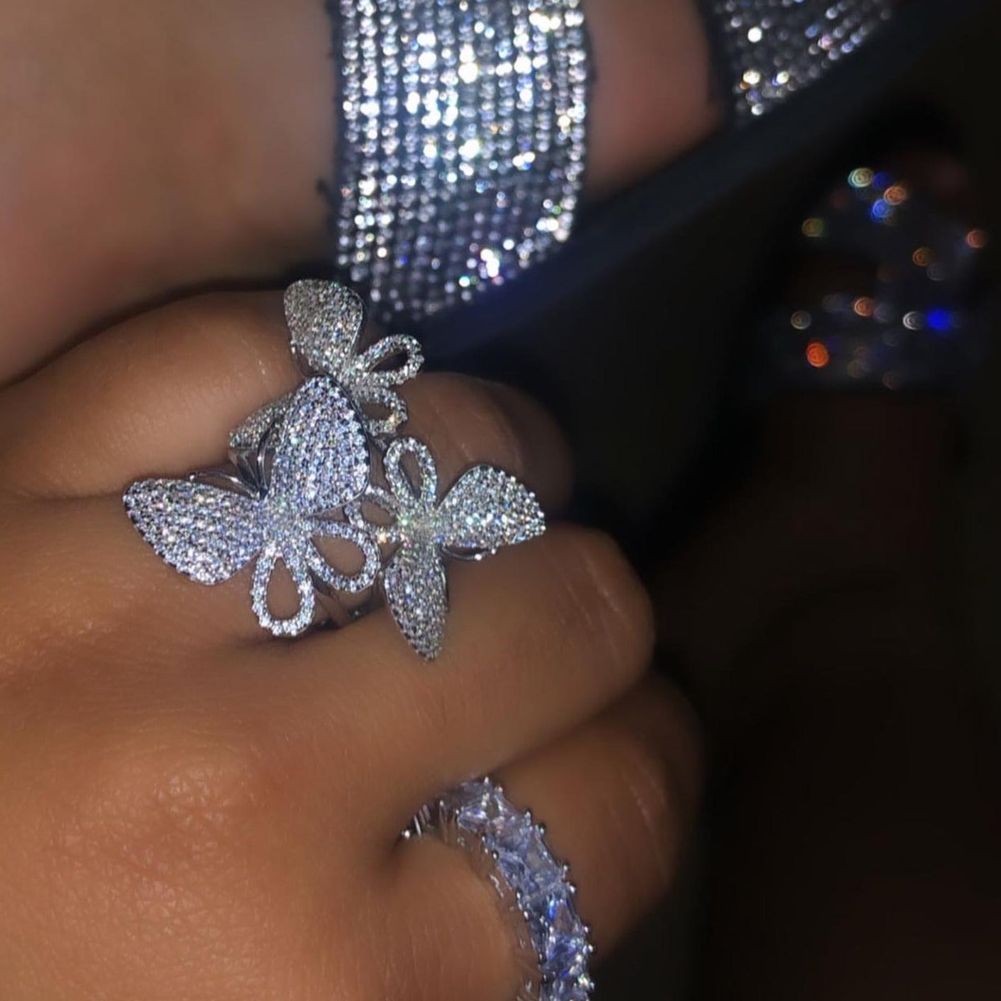 Adara's Crystal Butterfly Ring Set
