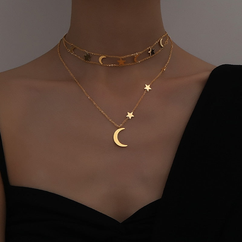 Nora's Crescent Moon & Stars Necklace