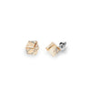 Aros Medium Cube Studs Golden Shadow - Swarovski joyas